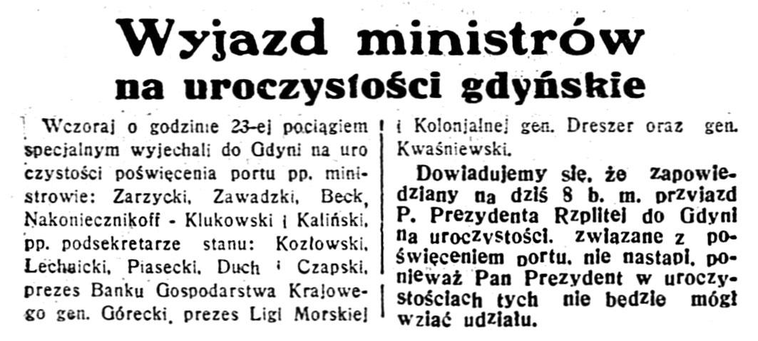 Wyjazd ministrów na uroczystości gdyńskie // Dzień Dobry. - 1933, nr 34, s. 1