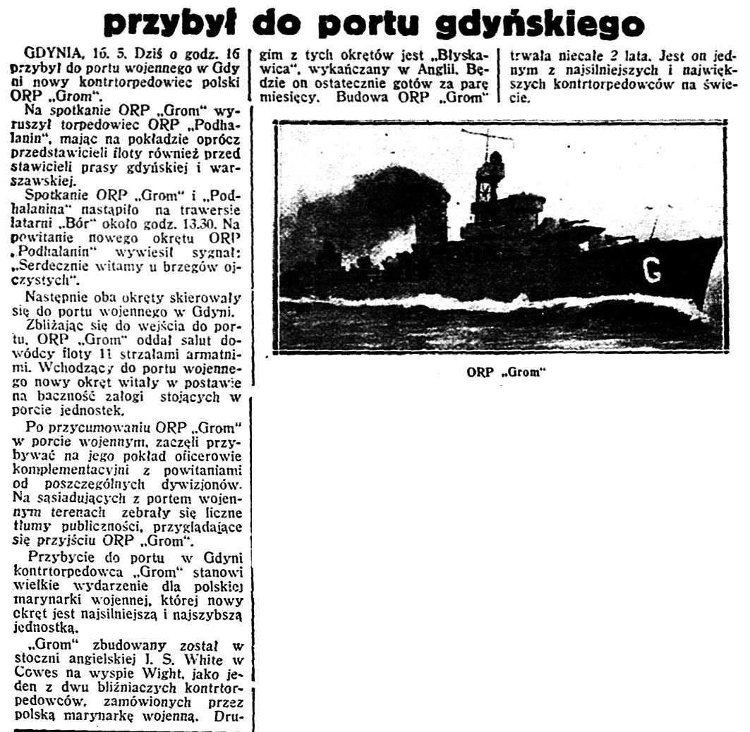 przybył do portu gdyńskiego // Dzień Dobry. - 1937, nr 135, dod. Gazeta Codzienna, s. 1. - Il.