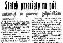 Statek przecięty na pół zatonął w porcie gdyńskim // Dzień Dobry. - 1937, nr 305, s. 1