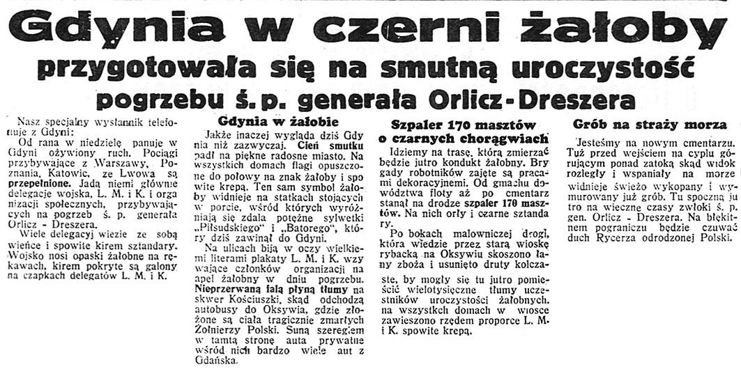 Gdynia w czerni żałoby przygotowała się na smutną uroczystość pogrzebu ś.p. generała Orlicz-Dreszera // Dzień Dobry. - 1936, nr 200, s. 3