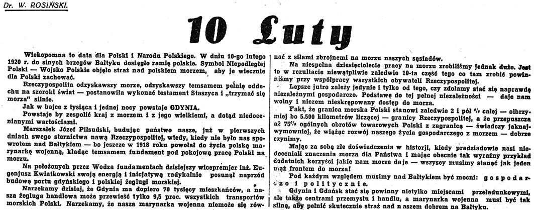 10 Luty / W. Rosiński // Nadzwyczajny Kurjer Morski. - 1937, nr 1, s. 1