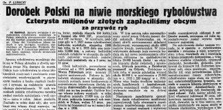 Dorobek Polski na niwie morskiego rybołówstwa. Czterysta miljonów złotych zapłaciliśmy obcym za przywóz ryb / F. Lubbecki // Nadzwyczajny Kurjer Morski. - 1937, nr 1, s. 3