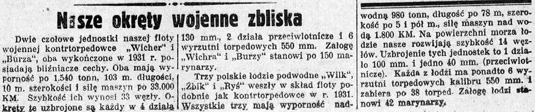Nasze okręty wojenne zbliska // Nadzwyczajny Kurjer Morski. - 1937, nr 1, s. 3