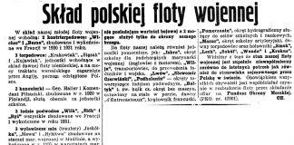 Skład polskiej floty wojennej / CH // Nadzwyczajny Kurjer Morski. - 1937, nr 1, s. 4