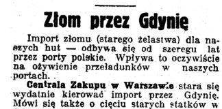 Złom przez Gdynię / R. // Nadzwyczajny Kurjer Morski. - 1937, nr 1, s. 6