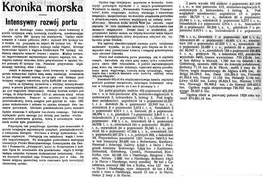 Intensywny rozwój portu // Pomorzanin 1927, nr 149, s. 3