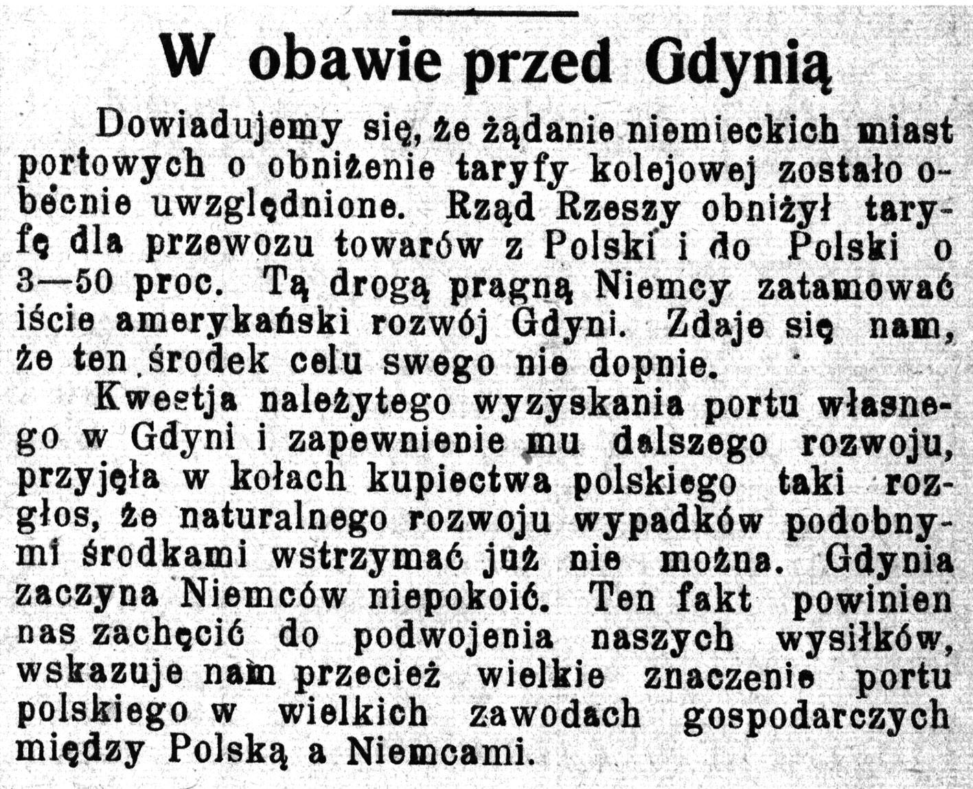 W obawie przed Gdynią // Pomorzanin. - 1928, nr 101, s. 3