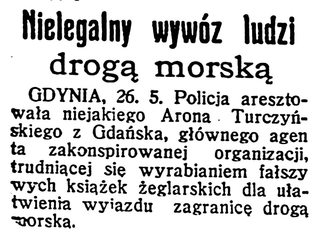 Nielegalny wywóz ludzi drogą morską // Dzień Dobry. - 1931, nr 142, s. 2