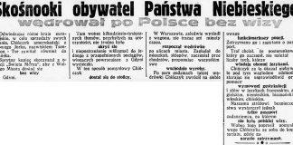 Skośnooki obywatel Państwa Niebieskiego wędrował po Polsce bez wizy // Dzień Dobry. - 1932, nr 212, s. 8
