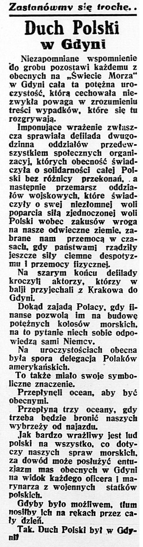 Duch Polski w Gdyni // Dzień Dobry. - 1932, nr 21, s. 2