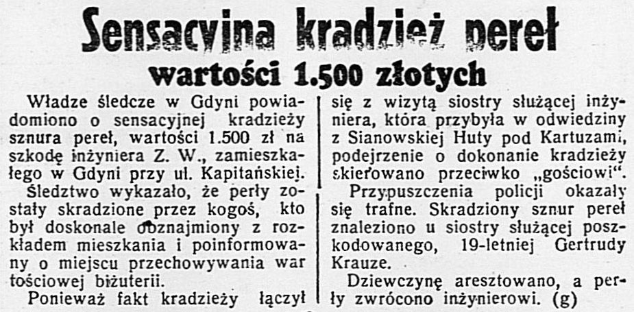 Sensacyjna kradzież pereł wartości 1.500 złotych // Dzień Dobry. - 1933, nr 139, s. 12