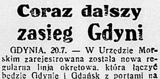 Coraz dalszy zasięg Gdyni // Dzień Dobry. - 1933, nr 200, s. 3