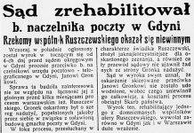 Sąd zrehabilitował b. naczelnika poczty w Gdyni. Rzekomy wspólnik Ruszczewskiego okazał się niewinnym // Dzień Dobry. - 1934, nr 105, s. 10