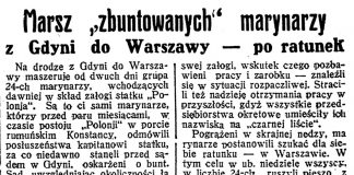 """Marsz """"zbuntowanych"""" marynarzy z Gdyni do Warszawy - po ratunek // Dzień Dobry. - 1934, nr 105, s. 10"""