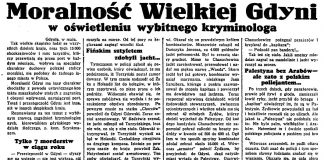 Moralność Wielkiej Gdyni w oświetleniu wybitnego kryminologa // Dzień Dobry. - 1934, nr 180, s. 2