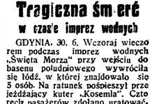 Tragiczna śmierć w czasie imprez wodnych // Dzień Dobry. - 1934, nr 180, s. 2
