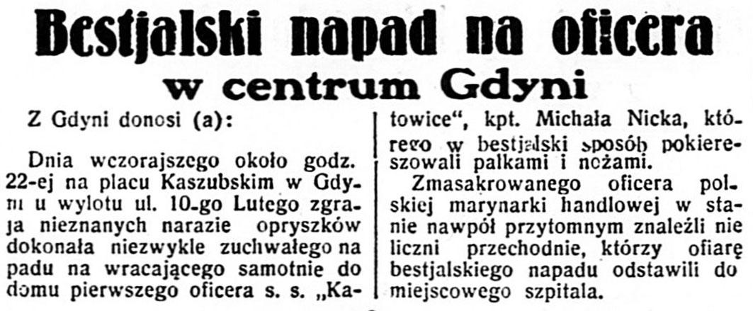 Bestjalski napad na oficera w centrum Gdyni // Dzień Dobry. - 1935, nr 122, s. 3