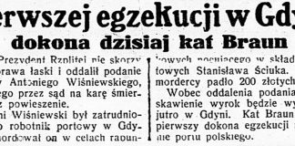 Pierwszej egzekucji w Gdyni dokona dzisiaj kat Braun // Dzień Dobry. - 1935, nr 147, s. 1