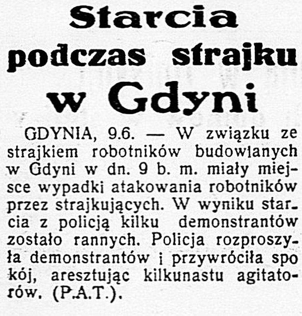 Starcia podczas strajku w Gdyni // Dzień Dobry. - 1936, nr 100, s. 1