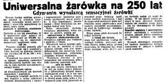 Uniwersalna żarówka. Gdynianin wynalazcą sensacyjnej żarówki // Dzień Dobry. - 1936, nr 102, s. 6
