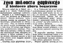 Zgon milionera gdyńskiego. Z biednego gbura bogaczem // Dzień Dobry. - 1936, nr 102, s. 6