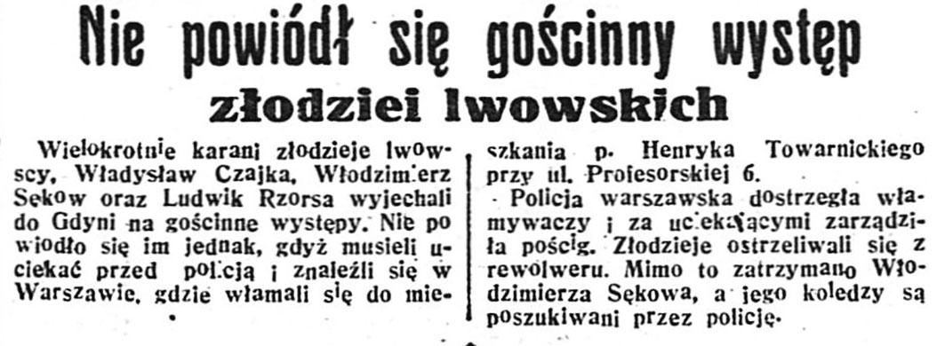 Nie powiódł się gościnny występ złodziei lwowskich // Dzień Dobry. - 1936, nr 198, s. 12