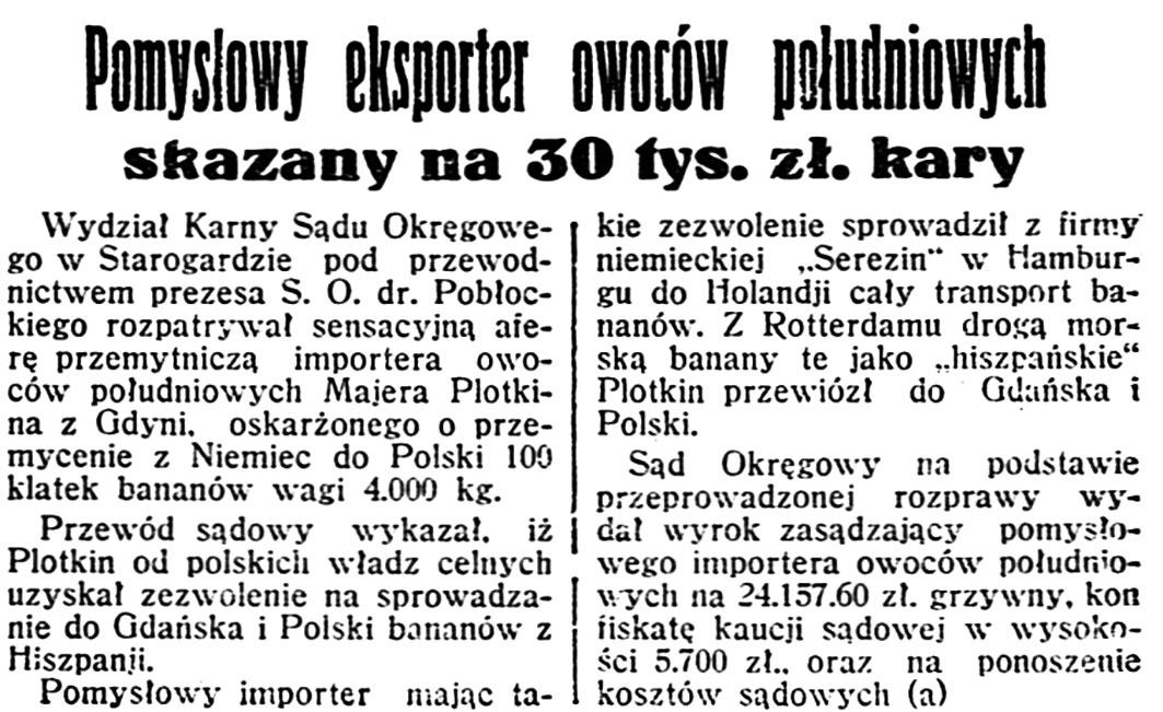 Pomysłowy eksporter owoców południowych skazany na 30 tys. zł. kary // Dzień Dobry. - 1936, nr 28, s. 5