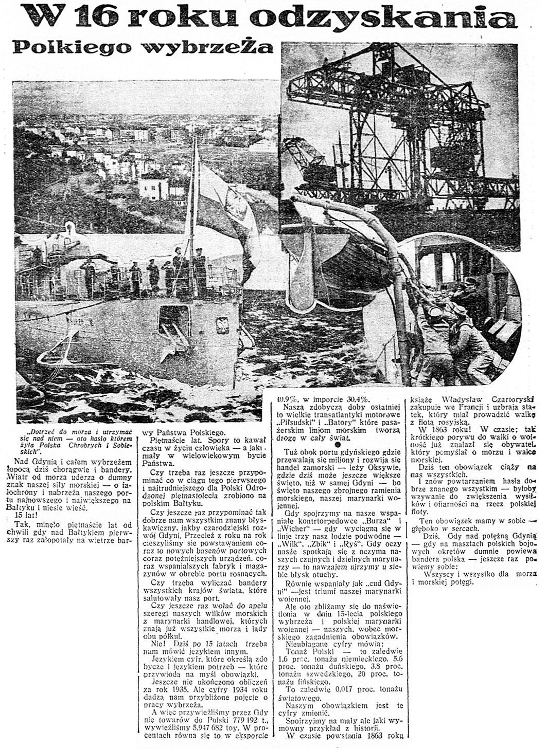 W 16 roku odzyskania Polskiego wybrzeża // Dzień Dobry. - 1936, nr 40, s. 2