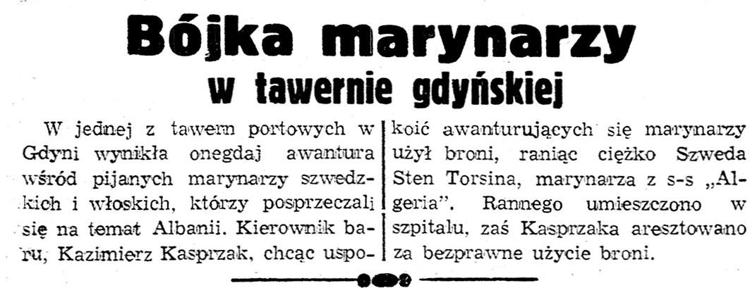 Bójka marynarzy w tawernie gdyńskiej // Dzień Dobry. - 1937, nr 191, s. 8