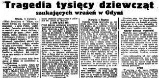 Tragedia tysięcy dziewcząt szukających wrażeń w Gdyni // Dzień Dobry. - 1938, nr 11, s. 5