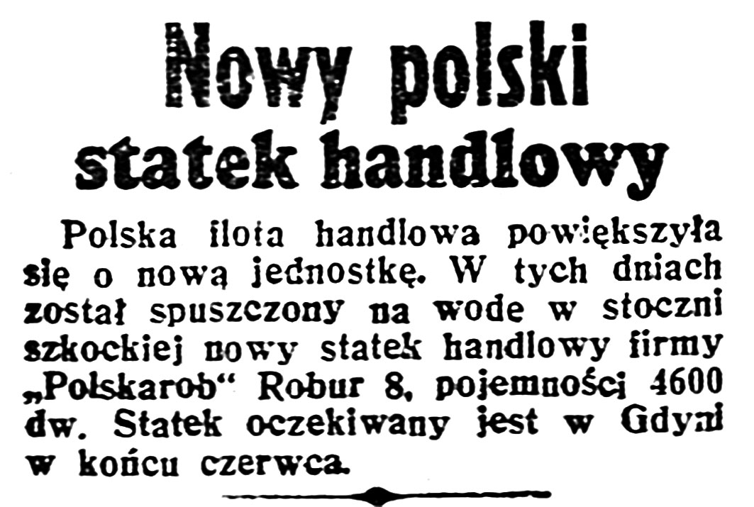 Nowy polski statek handlowy // Dzień Dobry. - 1938, nr 123, s. 4