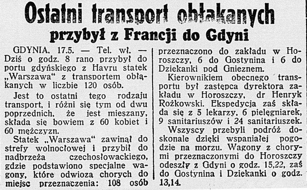 Ostatni transport obłąkanych przybył z Francji do Gdyni // Dzień Dobry. - 1938, nr 138, s. 8