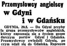Przemysłowcy angielscy w Gdyni i w Gdańsku // Dzień Dobry. - 1938, nr 139, s. 1