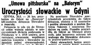"""Uroczystości słowackie w Gdyni. """"Umowa pittsburska"""" na """"Batorym"""" // Dzień Dobry. - 1938, nr 139, s. 2"""