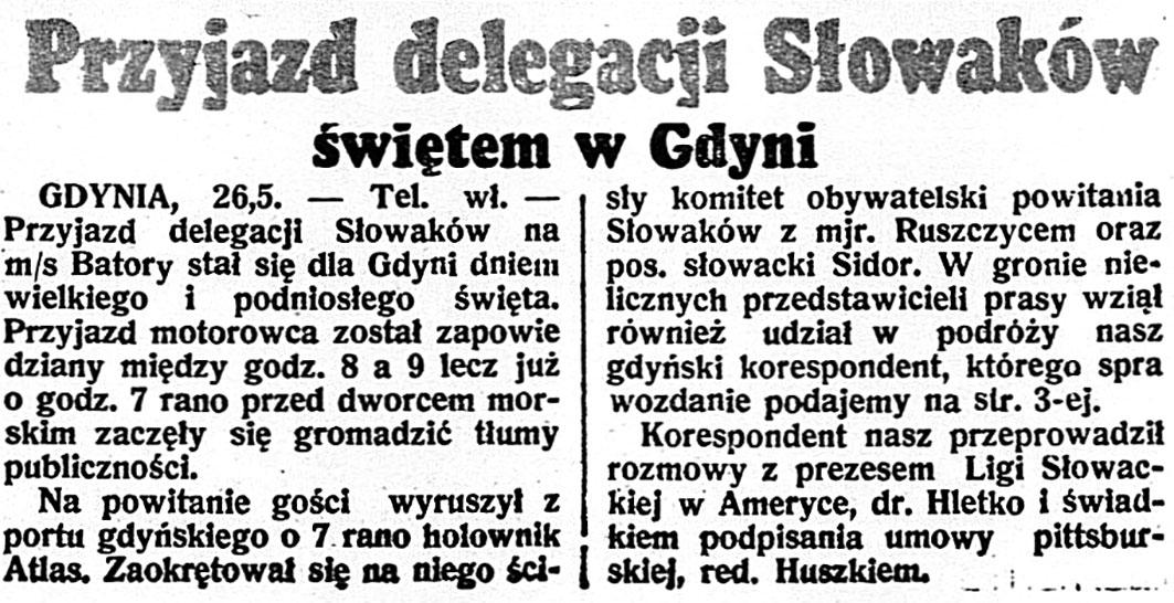 Przyjazd delegacji Słowaków świętem w Gdyni // Dzień Dobry. - 1938, nr 145, s. 1