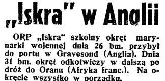 """""""Iskra"""" w Anglii // Dzień Dobry. - 1938, nr 146, s. 3"""