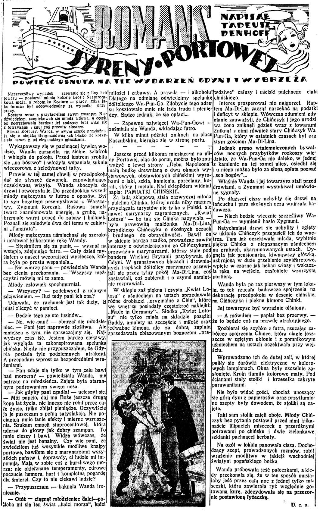 Roman syreny portowej / Tadeusz Denhoff // Dzień Dobry. - 1938, nr 23, s. 4