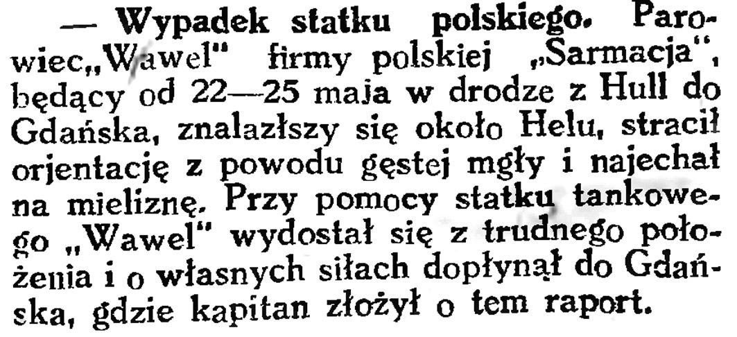 Wypadek statku polskiego // Gazeta Gdańska. - 1926, nr 123, s. 4