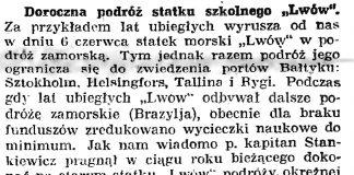 """Doroczna podróż statku szkolnego """"Lwów"""" // Gazeta Gdańska. - 1926, nr 125, s. 4"""