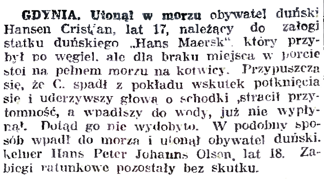 Utonął w morzu obywatel duński ... // Gazeta Gdańska. - 1926, nr 140, s. 5