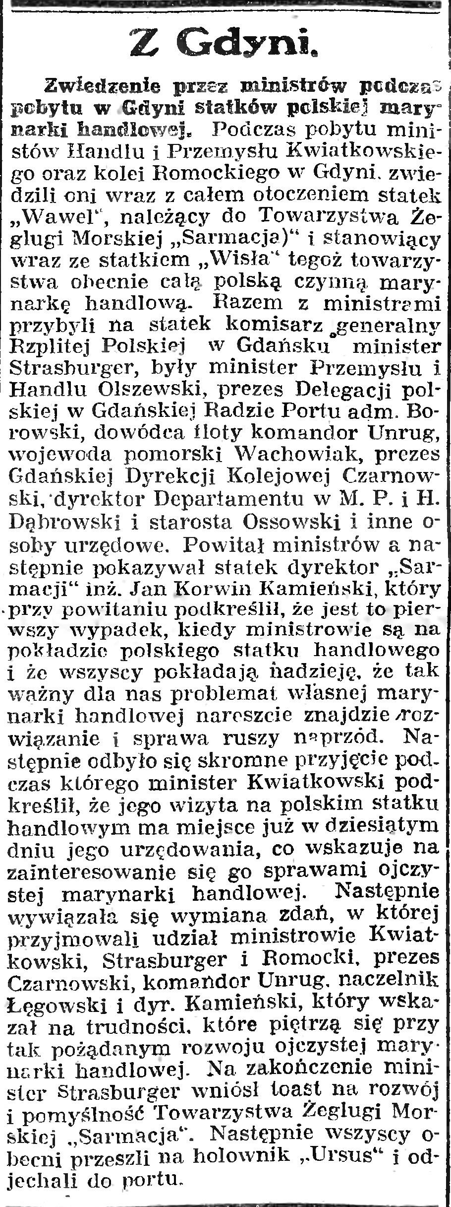 Zwiedzanie przez ministrów podczas pobytu w Gdyni statków polskiej marynarki handlowej // Gazeta Gdańska. - 1926, nr 142, s. 7