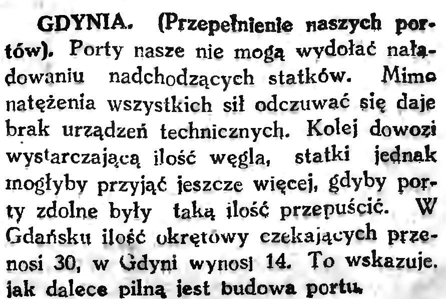 Przepełnienie naszych portów // Gazeta Gdańska. - 1926, nr 145, s. 4