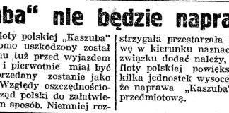 """""""Kaszuba"""" nie będzie naprawiony // Gazeta Gdańska. - 1926, nr 4, s. 5"""