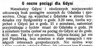 O nocne pociągi dla Gdyni // Pomorzanin. - 1927, nr 149, s. 3