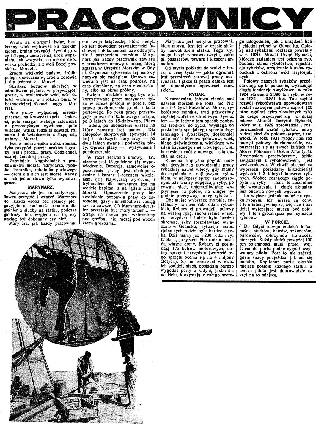 Pracownicy morza // Dzień Dobry. - 1935, nr 178. s. 3-4. - Il.