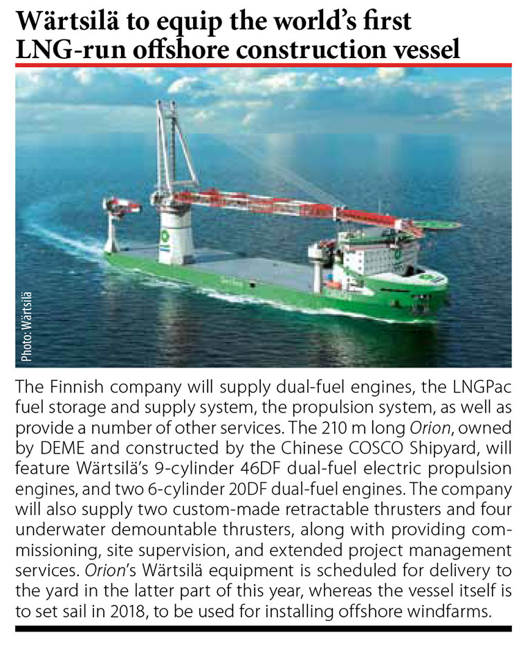 Wartsila to equip world's first LNG-run offshore construction vessel // Baltic Transport Journal. - 2017, nr 2, s. 10