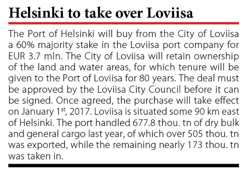 Helsinki to take over Loviisa // Baltic Transport Journal. - 2016, nr 5, s. 10