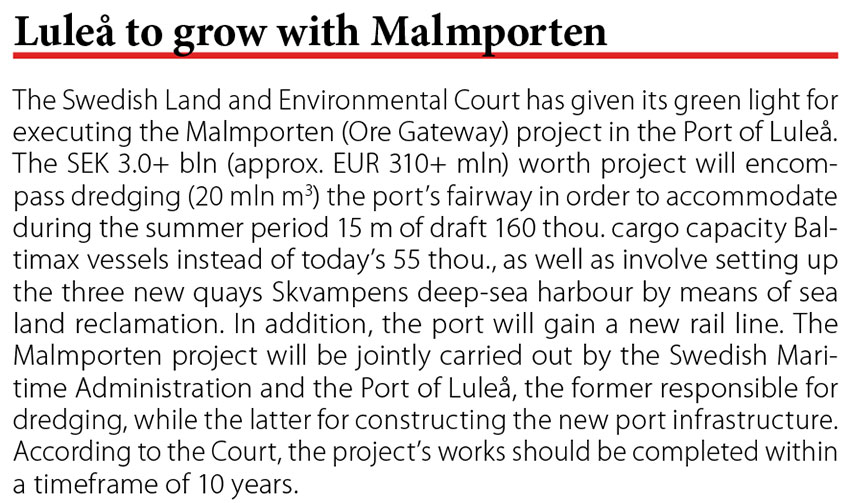 Lulea to grow with Malmporten // Baltic Transport Journal. - 2017, nr 2, s. 10