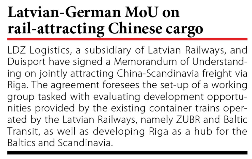 Latvian-German MoU on rail-attracting Chinese cargo // Baltic Transport Journal. - 2016, nr 5, s. 10