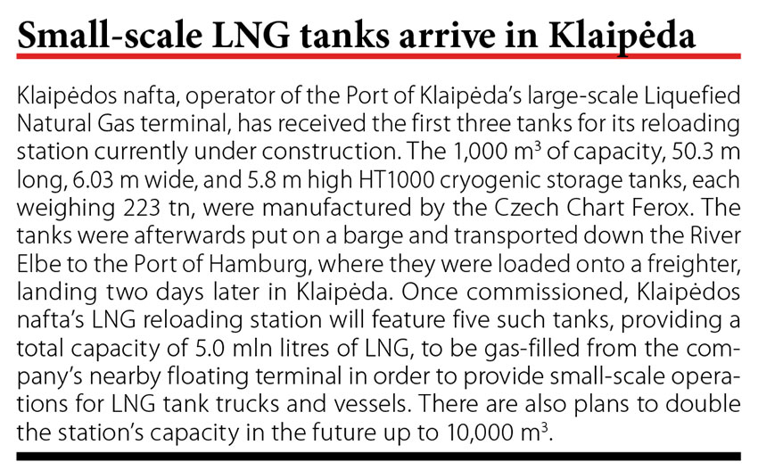 Small-scale LNG tanks arrive in Klaipeda // Baltic Transport Journal. - 2017, nr 2, s. 10